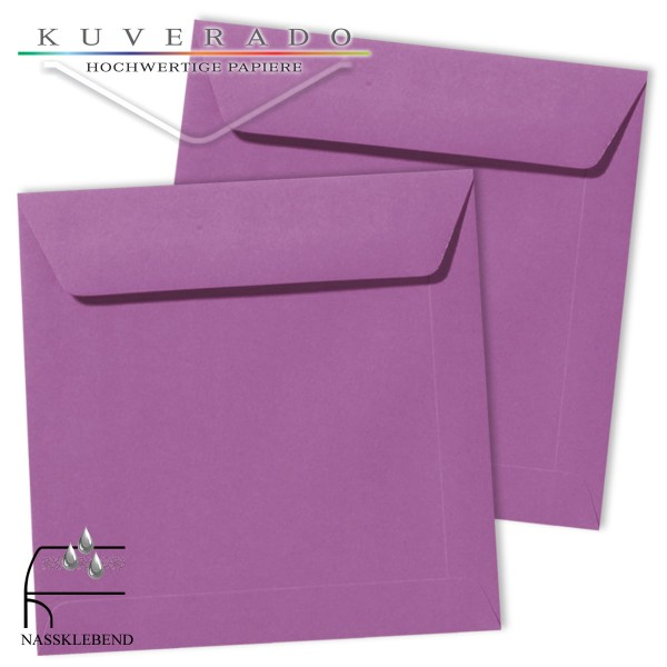 Lila Briefumschläge (violett) im Format quadratisch 190x190 mm
