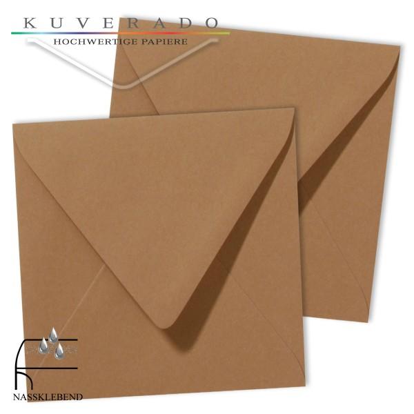 braune Briefumschläge im Format quadratisch 120x120 mm