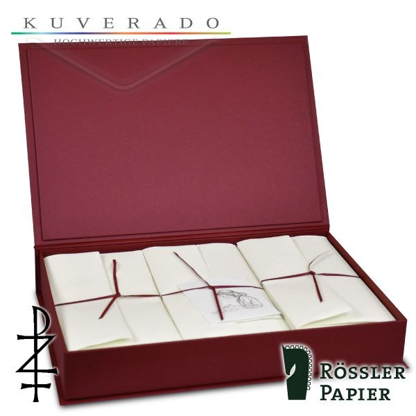 rote Briefpapierkassette mit natur-weißem Büttenpapier