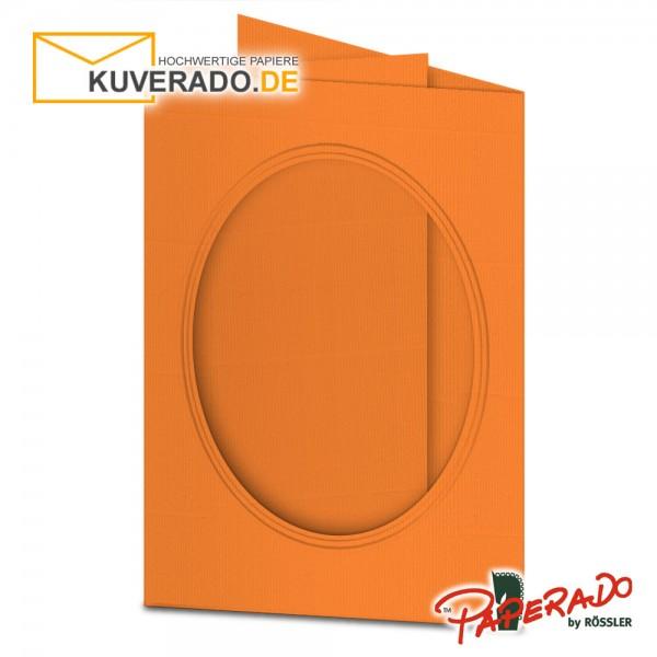 Paperado Passepartoutkarten mit ovalem Ausschnitt in orange DIN B6