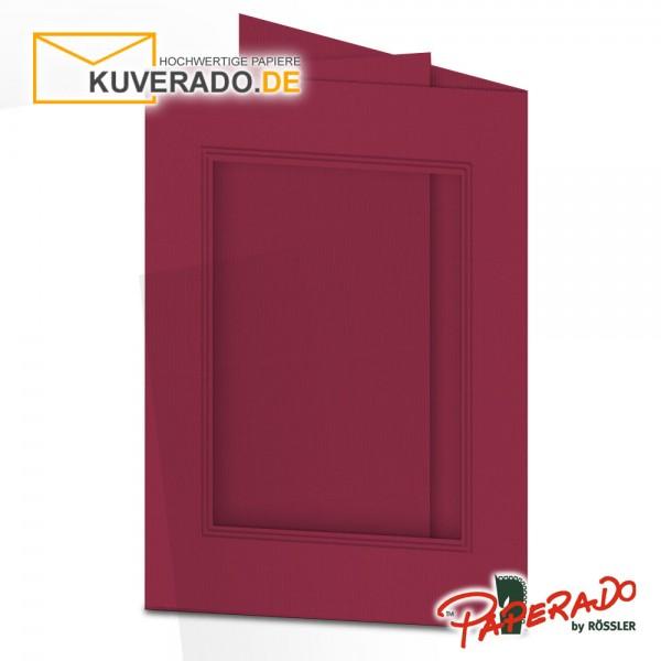 Paperado Passepartoutkarten mit eckigem Ausschnitt in rosso DIN B6