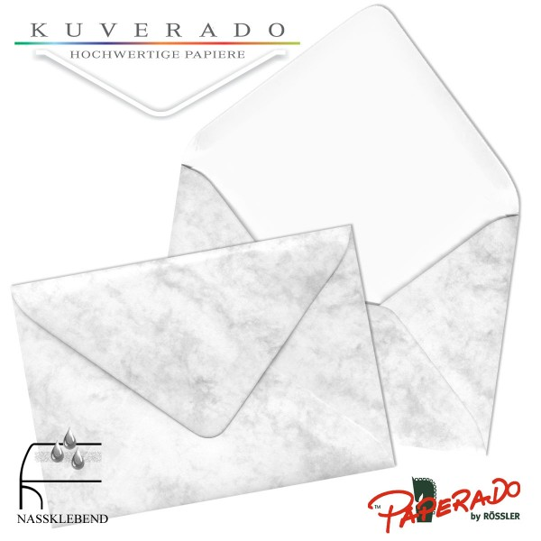 Paperado marmorierte Briefumschläge in grau 225x315 mm