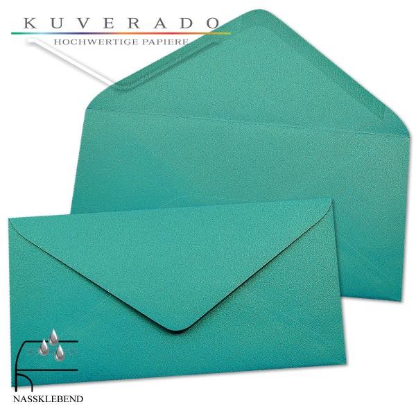 glänzende metallic Briefumschläge in türkis blau im Format DIN lang