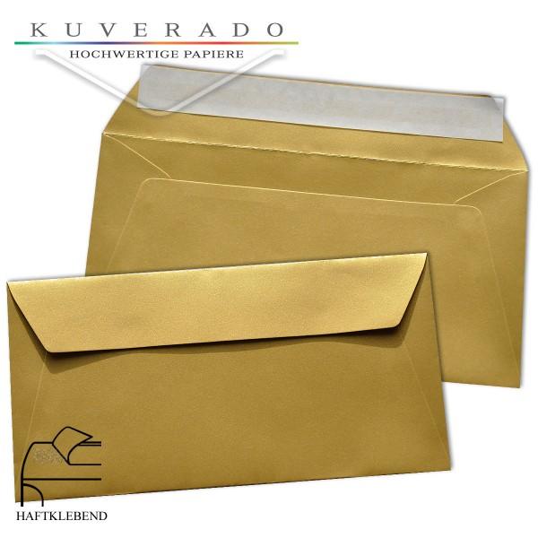 metallic Briefumschläge in gold im Format DIN lang haftklebend
