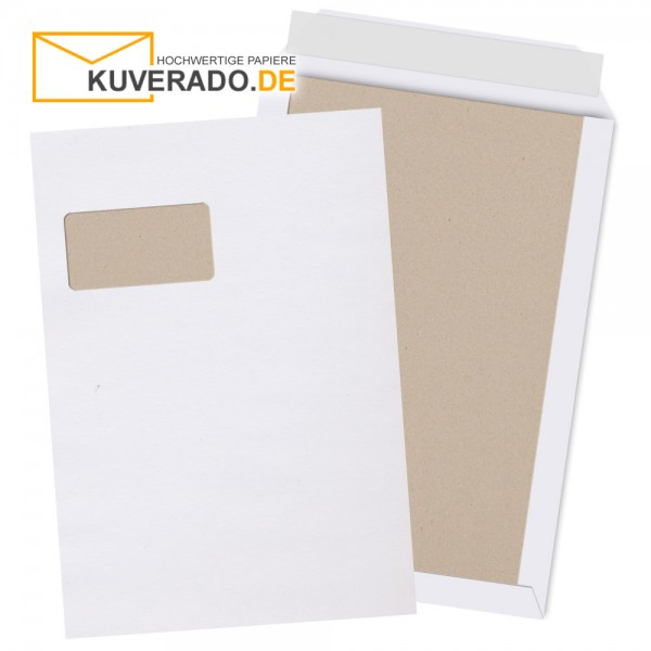 Weiße Papprückwandtaschen mit Adressfenster im Format DIN C4 haftklebend