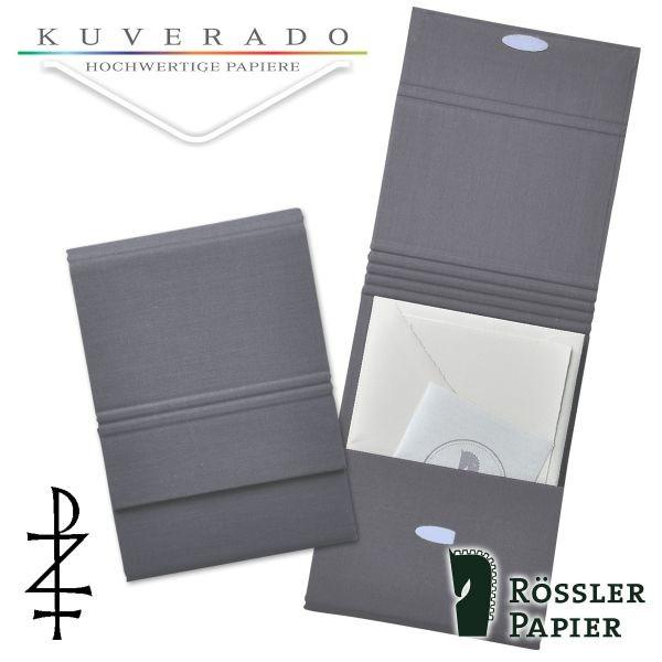 graue Briefpapiermappe mit natur-weißem Büttenpapier