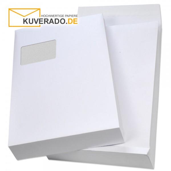 Weiße Faltentaschen mit Adressfenster und Klotzboden in DIN C4 und 20mm Falte