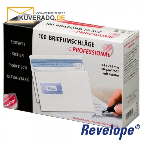 Revelope® DIN C5 Briefumschläge mit Adressfenster haftklebend 90g/qm | 100 Stück