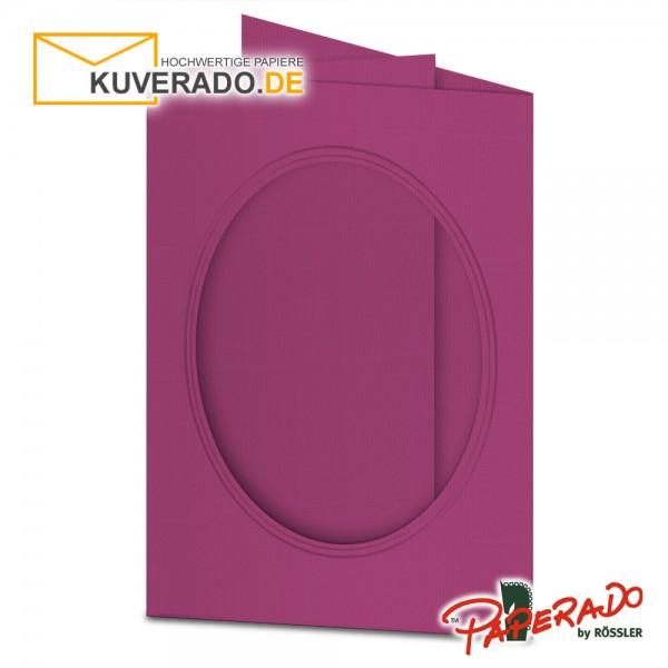 Paperado Passepartoutkarten mit ovalem Ausschnitt in amarena-lila DIN B6